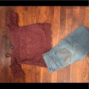 Hollister high rise jeans and top